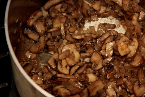 browning the mushrooms & onions