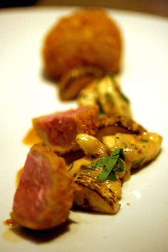 Fried quail, banana tartar, nasturtium (another view)