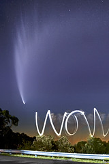 Comet McWOW (neilcreek) Tags: trees light sky lightpainting black nature night wow dark painting stars amazing head tail astro astrophotography astronomy comet blye mcnaught 2007best