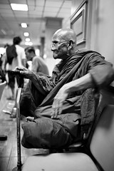 Monk waiting - hospital Issan, Thailand