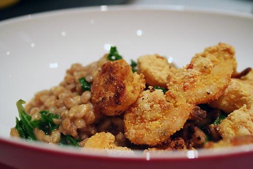 cornmeal & cayenne shrimp w/cheddar farro risotto