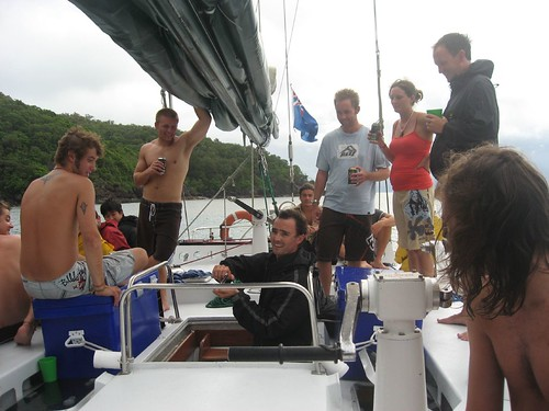 Our Skipper teaches us how to proplery dispose of all the beer cans (ie crush it)