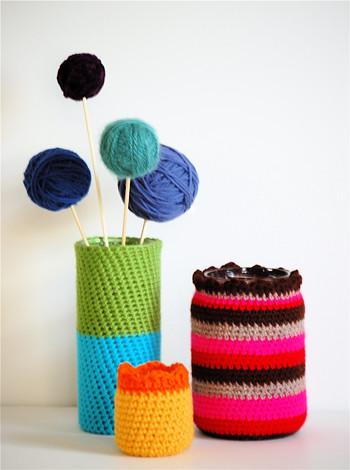 Jar Cozies and Yarn Ball Flowers