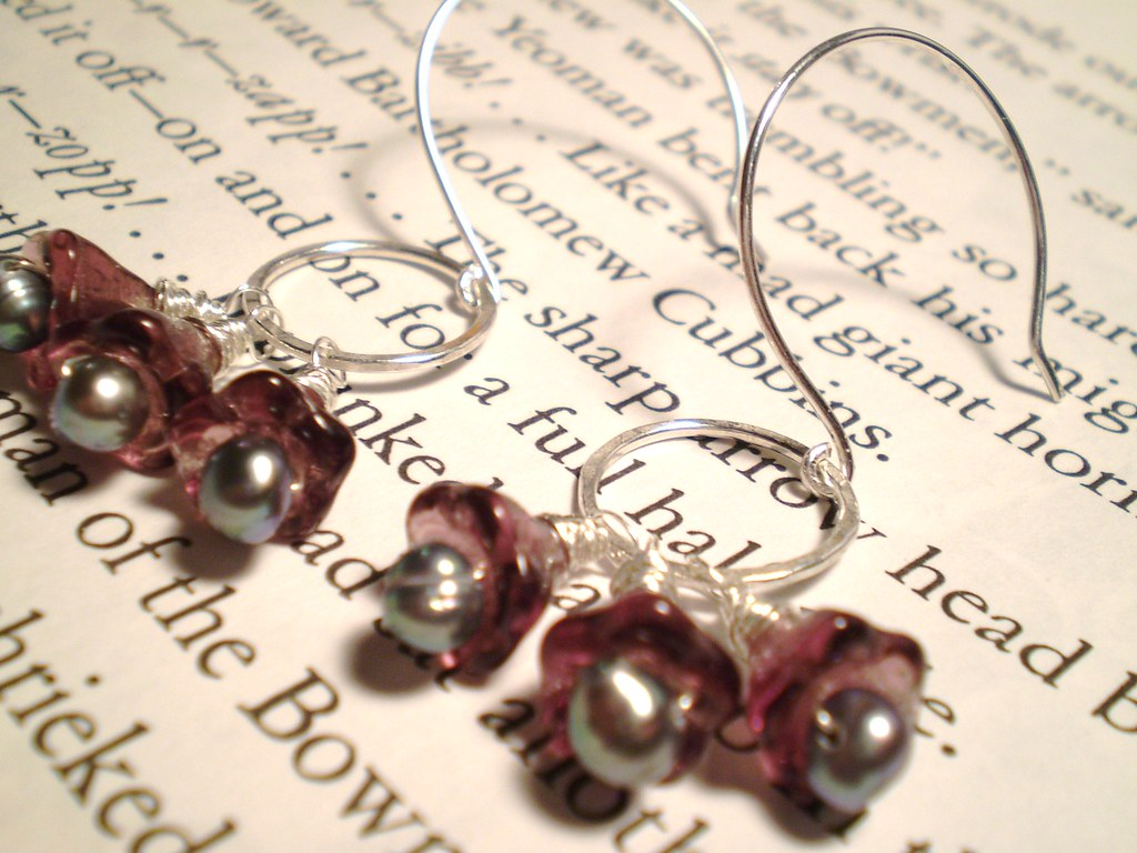 Czech Glass Flowers, Freshwater Pearls, and Sterling Silver Earrings