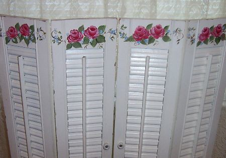 Hand Painted Roses Vintage Shutters