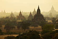 View over the numerous buddhist temples of Bagan - Myanmar (PascalBo) Tags: sunset architecture landscape outdoors temple pagoda nikon asia southeastasia d70 burma buddhism myanmar asie paysage coucherdesoleil pagan bagan bouddhisme pagode birmanie 123faves asiedusudest pascalboegli lphistory