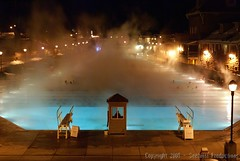 Glenwood Springs - Night Shooting (Seetwist) Tags: bridge light vacation water pool night swimming swim lights colorado warm sony glenwood swimmingpool nighttime february alpha dslr 2008 nighthawk hotsprings openshutter glenwoodsprings mineralsprings a100k