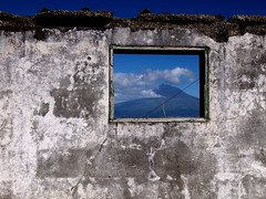 window to Pico (r.moreira32) Tags: travel lighthouse tourism portugal window wall clouds island volcano earthquake europe ruin cybershot olympus pico frame janela farol azores aores faial ribeirinha 1450mm faialisland ilustrarportugal janelasportuguesas