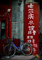 Bike in a hutong, Beijing, China (Eric Lafforgue) Tags: china bike panel chinese beijing  hutong  kina chin velo panneau cina chine xina  pelin  tiongkok  chiny  kna in 9816 lafforgue   top20travel trungquc na   kitajska tsina  earthasia