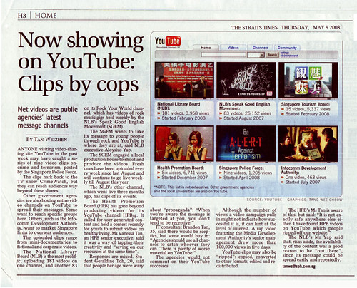 Singapore Government agencies using YouTube