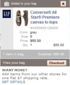 Gap shopping basket preview