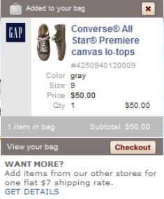 Gap shopping basket preview