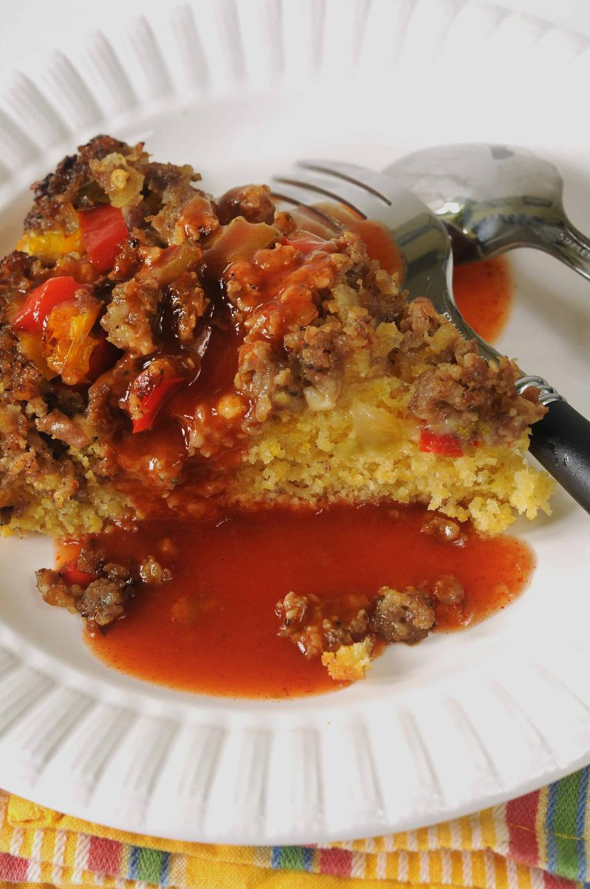 upside down cornbread with enchilada sauce