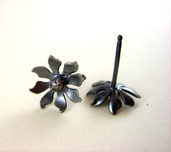 Dark Forest Flower Earring Studs