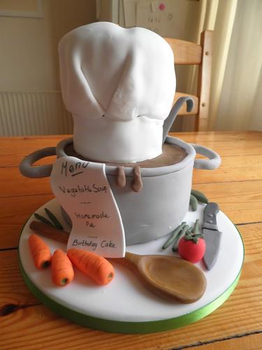 chefs hat saucepan birthday cake