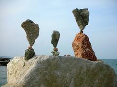 ....three..... (rebranca46) Tags: italy rocks stones stack balance sassi ephemeral landart naturalart 2007 equilibrio portoverde rebalance rebranca