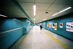 holodeck (troutfactory) Tags: film station japan subway vanishingpoint voigtlander perspective rangefinder wideangle tunnel tiles  osaka analogue kansai 15mm bessal salaryman heliar nakazakicho wideboys
