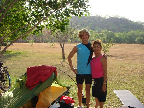 Me and my neighbour at Hayes Creek Camping