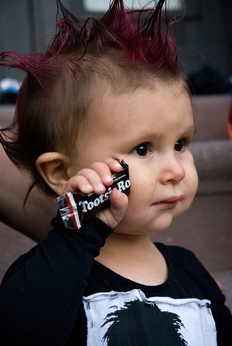 Baby dressed as Punker, Halloween, Park Slope, Brooklyn
