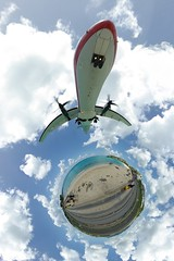 Bigger landing... (gadl) Tags: panorama beach plane island gimp landing projection handheld plage avion 360 sintmaarten le stereographic hugin enblend mathmap stereographicprojection