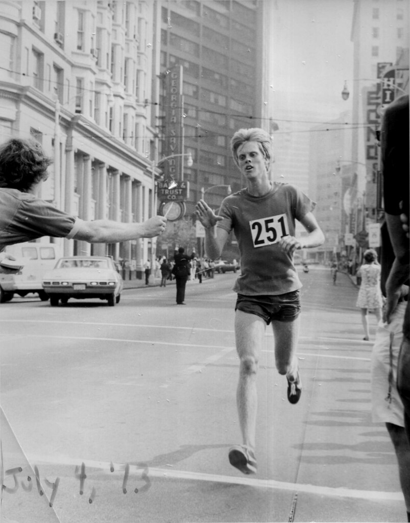 Vintage 1973 Peachtree 10K Road Race finish in Atlanta, Georgia