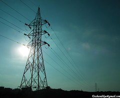 Power Flows (techsaur) Tags: sun tower electric poles transmissionlines