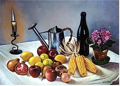 Still life with candle (superpralinix) Tags: stilllife fruits painting peinture frutta oiloncanvas pittura