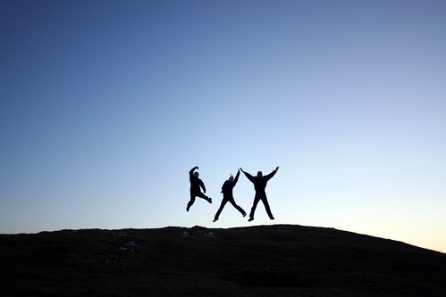 Jumping for joy on Moel Hiraddug