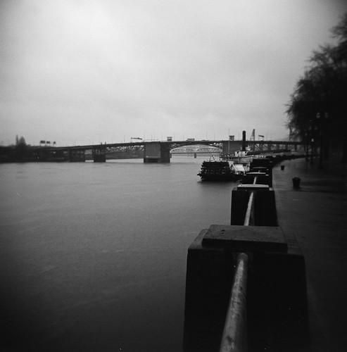 waterfront rainstorm winter