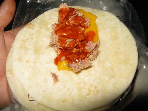 Tuna, cheese, Louisiana hot sauce on tortillas - great!