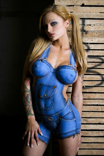 blue jeans body painting design