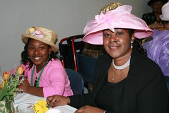 Woman and young girl in hats