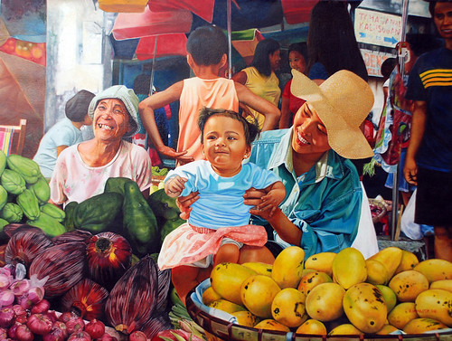 Market scene painting mango banana blossom mom mother child  Philippines Pinoy Filipino Pilipino Buhay  people pictures photos life Philippinen    special espesyal vendor sayote chokoes