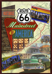 postcard - Route 66 (Jassy-50) Tags: usa car route66 postcard 57chevy largeletter mapcard fatletters