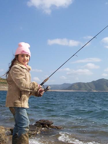 Leila Medellin Meester fishing at Diamond Lake near Hemet, California