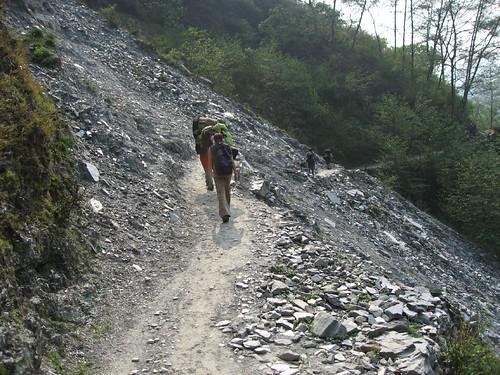 Crossing over an old landslide