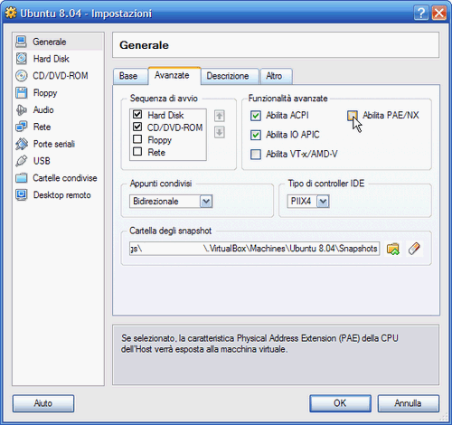 Fig. 5 - VirtualBox - abilitazione supporto PAE (Physical Address Extension)