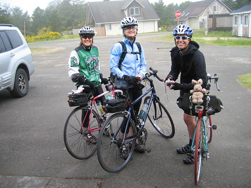 Lynne, Diane, and Cecil preparing to ride back to Portland