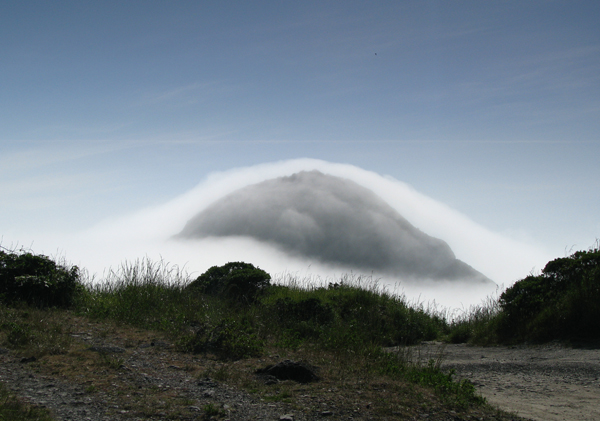 fog capped mountain