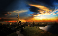 The city of the 1000 Minaret,-    (waelsaad1983) Tags: city photoshop landscape egypt mosque cairo saad 2d mosques ancientegypt wael mattepainting islamiccairo miaret fatmia waelsaad