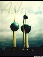 (iAiisha) Tags: street cloud tower lights three gulf 2006 east rainy kuwait arabian middle   trrees