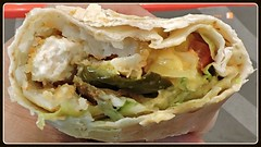Crunchy wrap - crispy chicken, hash browns, deep-fried cheese-stuffed jalapenos, lettuce, tomato (Will S.) Tags: mypics ottawa ontario canada centralebergham wrap chicken potato jalapeno cheese fried crispy crunchy