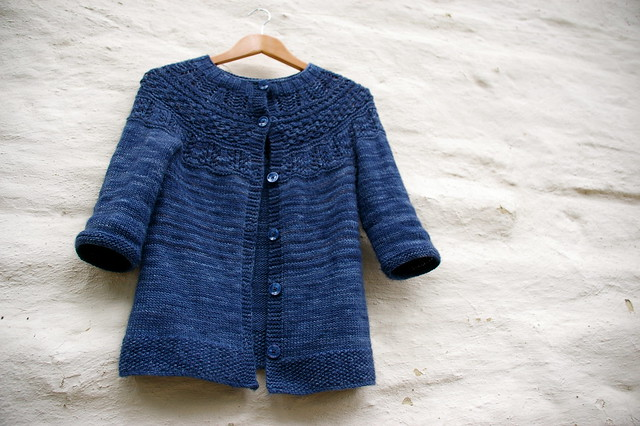 patterned yoke cardigan