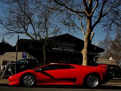 The Devil in Red (WFoxPhotography) Tags: red car amazing san francisco doors wheels wing exotic massive brakes diablo lamborghini supercar scissor v12
