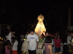 Our Lady of Fatima At the front of Our house relatives throwing rose petals