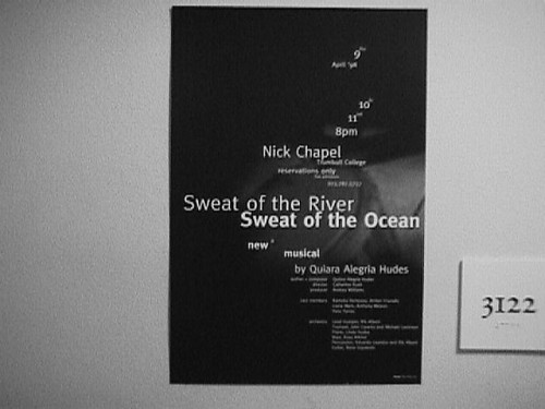 SML Flickr: Sweat of the River, Sweat of the Ocean, a musical by Quiara Alegria Hudes: Poster / 1998-04-09 / SML