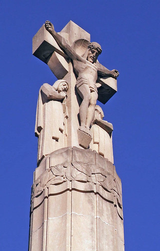 Calvary Roman Catholic Cemetery, in Saint Louis, Missouri, USA - crucifix over gate.jpg