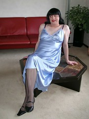 Soft shiny satin (Paula Satijn) Tags: blue shiny tgirl transvestite slip satin silky nightdress nighty bluenigthgown