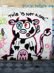 Street Art (Lasa Roberta Trojaike) Tags: street pink eye art wall pig cow colorful rosa vaca porco