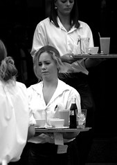 Waitress (Itzick) Tags: bw black coffee cafe women faces d200 waitress youngwoman artisticexpression platinumphoto